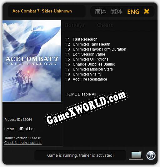 Ace Combat 7: Skies Unknown: ТРЕЙНЕР И ЧИТЫ (V1.0.27)