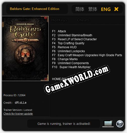Baldurs Gate: Enhanced Edition: ТРЕЙНЕР И ЧИТЫ (V1.0.68)