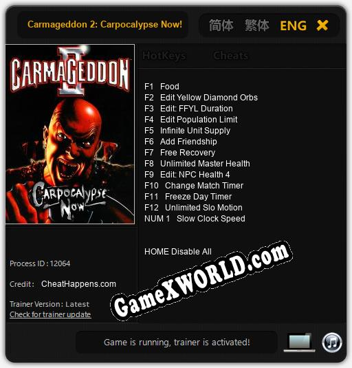 Carmageddon 2: Carpocalypse Now!: Трейнер +13 [v1.4]