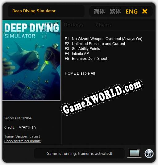 Трейнер для Deep Diving Simulator [v1.0.4]