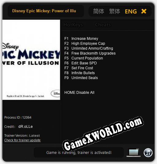 Disney Epic Mickey: Power of Illusion: Трейнер +9 [v1.6]