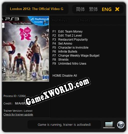 London 2012: The Official Video Game of the Olympic Games: Трейнер +9 [v1.7]