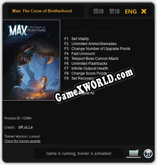 Трейнер для Max: The Curse of Brotherhood [v1.0.7]