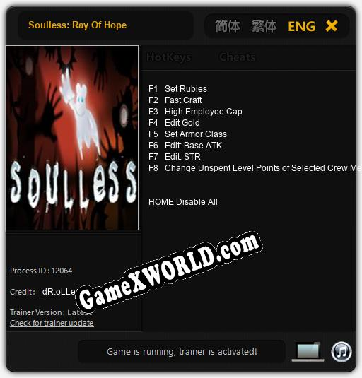 Soulless: Ray Of Hope: Читы, Трейнер +8 [dR.oLLe]
