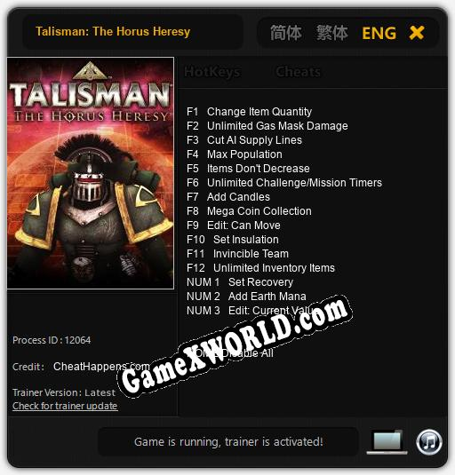 Talisman: The Horus Heresy: ТРЕЙНЕР И ЧИТЫ (V1.0.95)