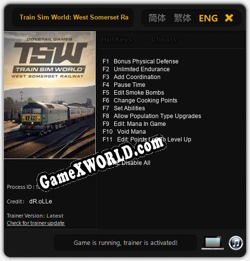 Train Sim World: West Somerset Railway: ТРЕЙНЕР И ЧИТЫ (V1.0.84)