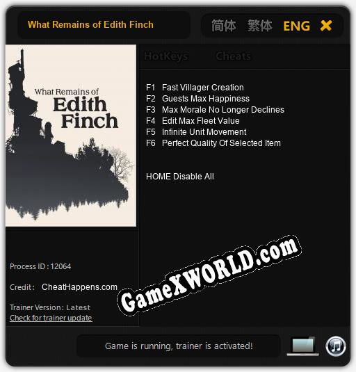 What Remains of Edith Finch: ТРЕЙНЕР И ЧИТЫ (V1.0.51)