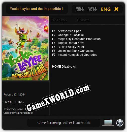 Трейнер для Yooka-Laylee and the Impossible Lair [v1.0.6]